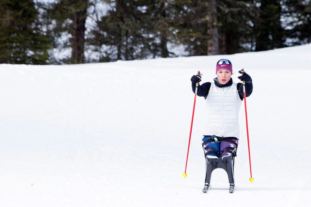 Oksana Masters training in Bozeman, Mont., before the Paralympics in Pyeongchang, where she is planning on participating in six events. Credit Janie Osborne for The New York Times