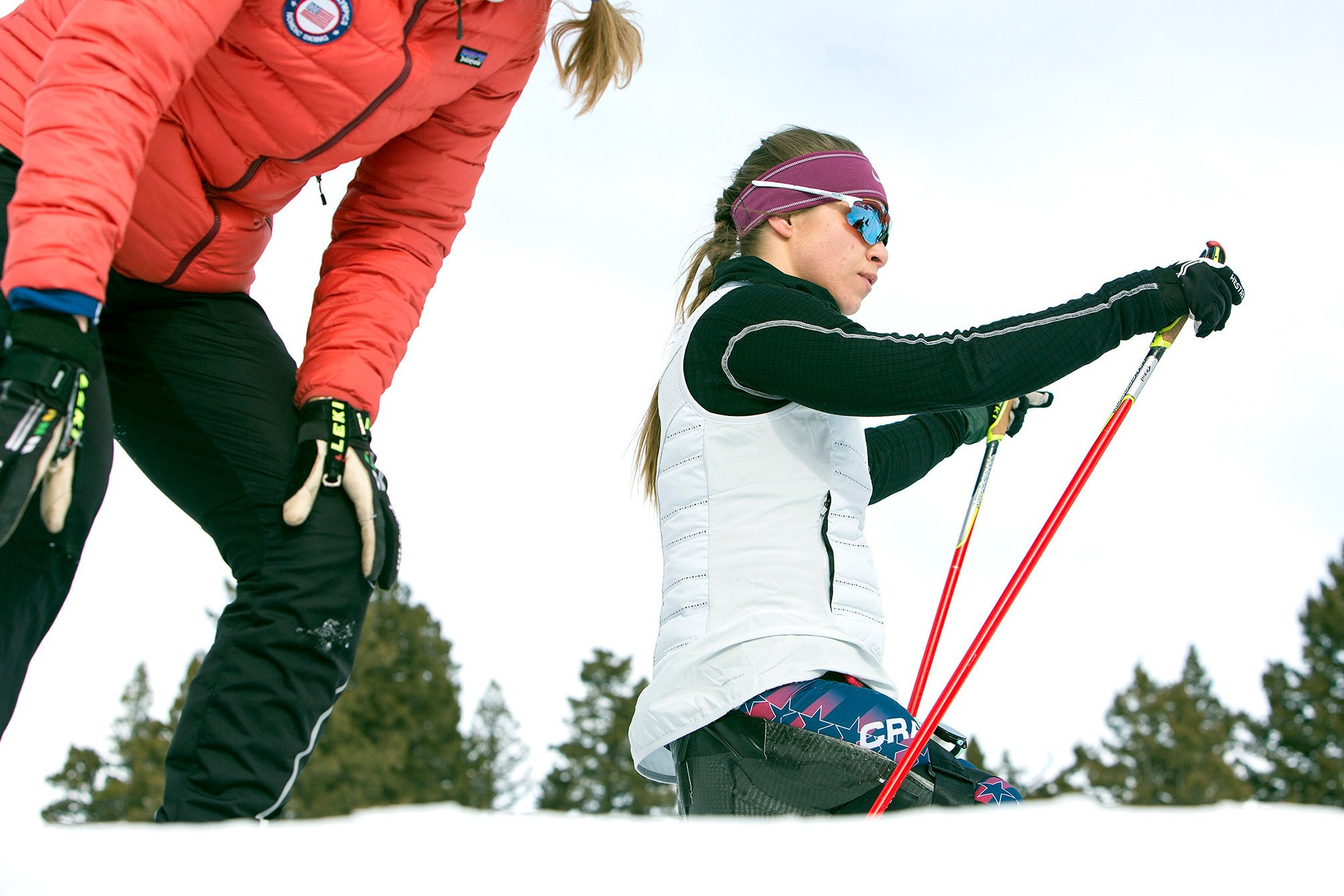 Training with Eileen Carey, the head coach for U.S. Paralympic Nordic Skiing. Credit Janie Osborne for The New York Times