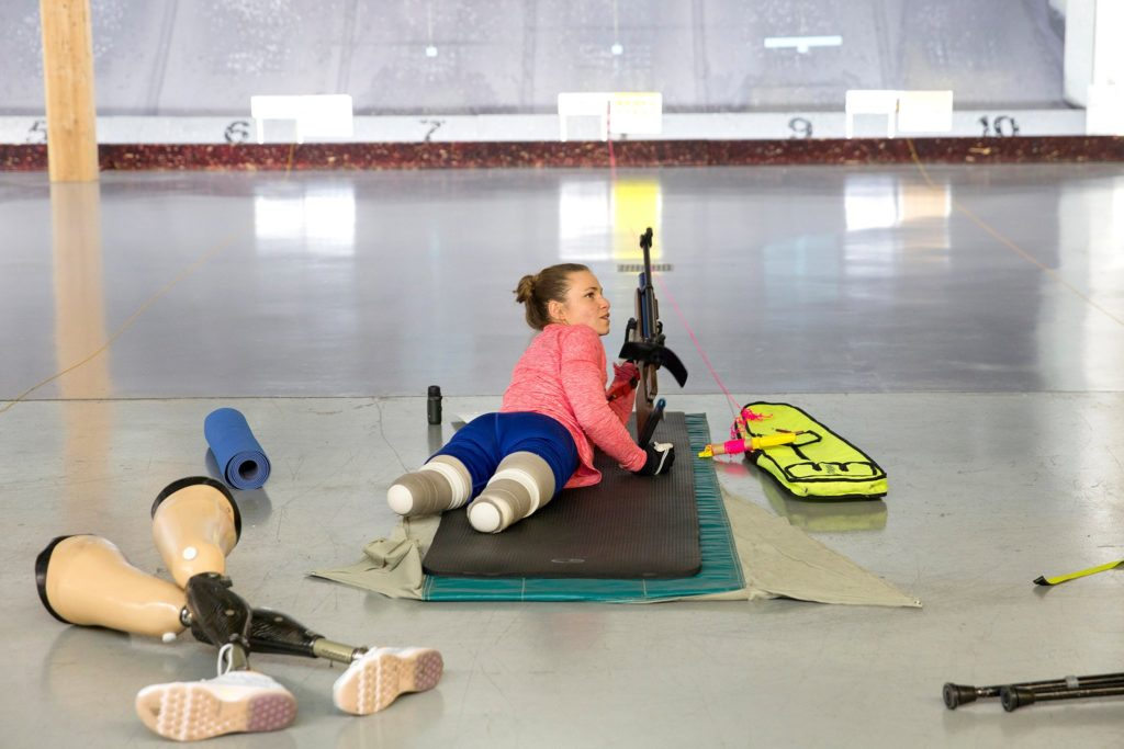 Masters competes and trains without her prosthetic legs in biathlon. Credit Janie Osborne for The New York Times